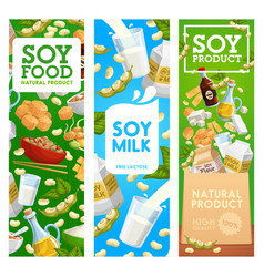 Soy beans milk and oil soybean sauce miso tofu vector