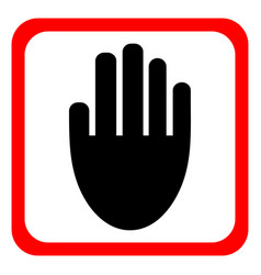 Stop sign hand icon sign for prohibited vector