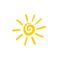 Sun spiral icon hand drawn vector