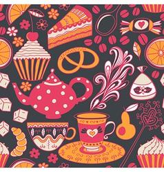 Tea seamless doodle teatime backdropCakes to vector image