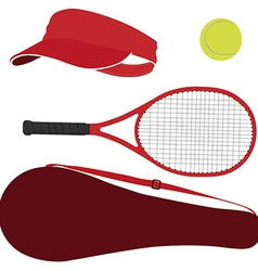 Tennis equipment red set vector image