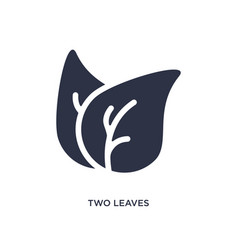Two leaves icon on white background simple vector