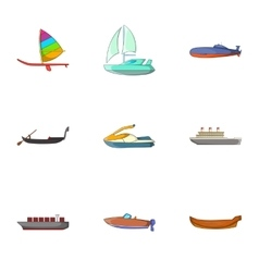 Water transport icons set cartoon style vector