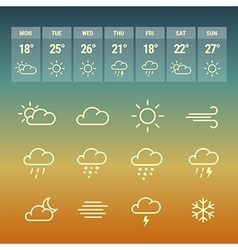 Weather forcast line icons on hot vector image