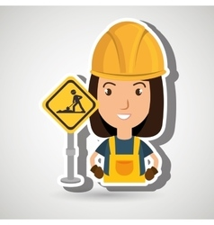 Woman worker construction vector