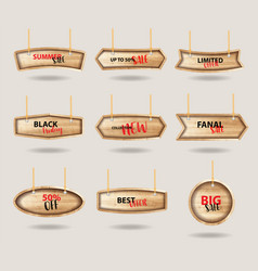 wooden signs hanging on a rope and chain with vector image