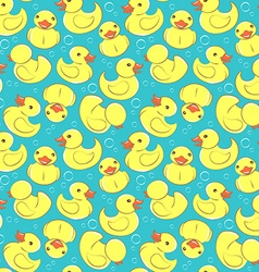 Yellow rubber duck and bubbles seamless kids vector