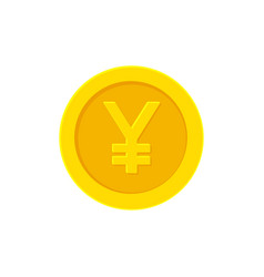 yen or yuan golden coin flat icon isolated white vector image