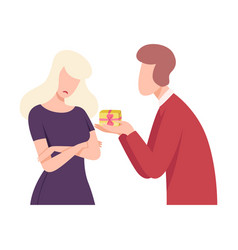 young man giving gift to upset woman people vector image
