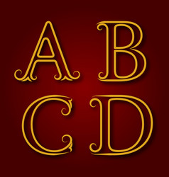 A b c d golden vintage letters with shadow vector