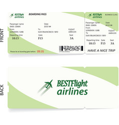 Airline passenger boarding pass ticket vector