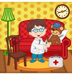 boy doctor treats teddy bear vector image