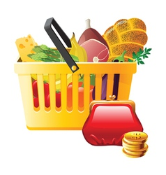 full shopping basket and wallet - saving money vector image vector image
