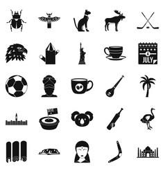 landmark icons set simple style vector image