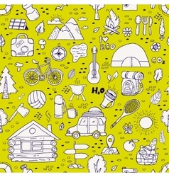 Seamless pattern of camping equipment symbols vector image