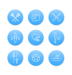 sports and games line icons on blue round shapes vector image vector image