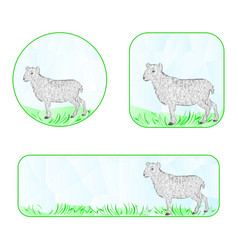 banner easter lamb polygons vector image vector image