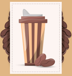 coffee paper cup beans design vector image vector image
