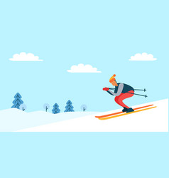 skier and winter nature poster vector image