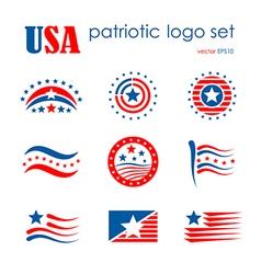 USA patriotic emblem logo icon set flag signs vector image