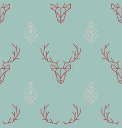 geometric seamless scandinavian pattern a deer vector image