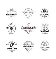 Hipster wine making grape labels logos vector image