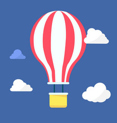 hot air balloon in the night sky with clouds vector image vector image