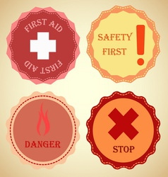 Retro badge collection of warning vector image vector image