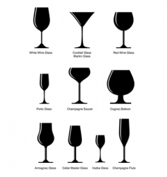 silhouette alcoholic glass vector image vector image