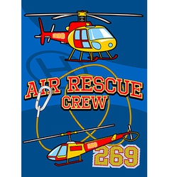 Air rescue with helicopters and equipment vector image vector image