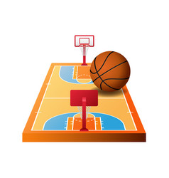 3d basketball court with hoops and orange ball vector image