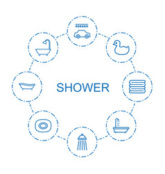 8 shower icons vector