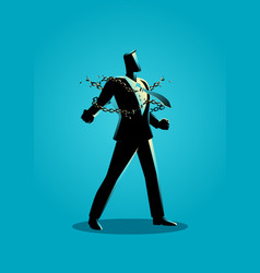 A businessman breaking chains vector