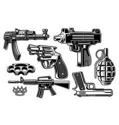 A set black and white weapon vector