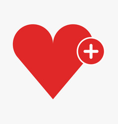 add heart icon on white background vector image