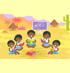 African children read books outdoor in village vector