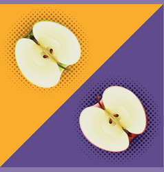 Apples halves pop art vector
