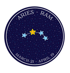 Aries zodiac constellation in space round icon vector