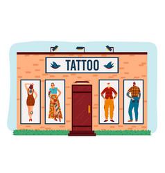 Art tattoo salon cartoon flat vector