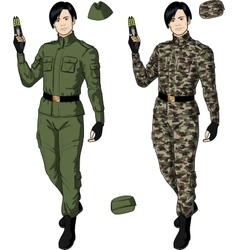 Asian male in green khaki holds taser vector