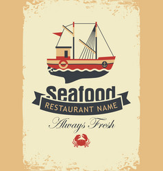 banner for seafood with fishing boat and crab vector image