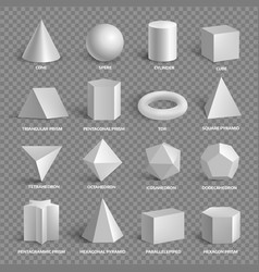 Basic 3d geometric shapes collection with names vector
