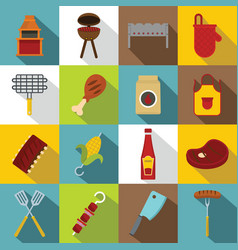 Bbq food icons set flat style vector