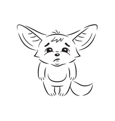 Black and white a funny fennec fox looks with vector