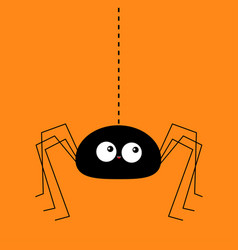 black spider silhouette hanging on dash line web vector image