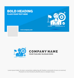 blue business logo template for business goal hit vector image