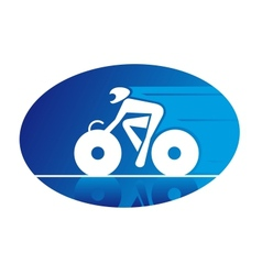 Blue icon of a racing cyclist vector