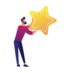 businessman holding a big golden star vector image