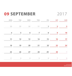calendar planner 2017 september week starts vector image