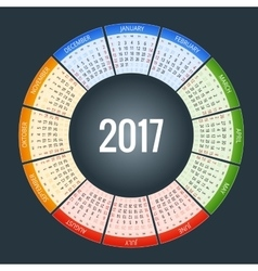 calendar simple flat design 2017 vector image